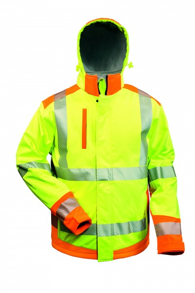 Elysee® Rickmer Wattierte Warnschutz-Softshelljacke gelb/schwarz, 23446