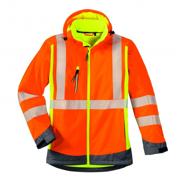 4Protect® Warnschutz-Softshelljacke HOUSTON 3470 leuchtorange