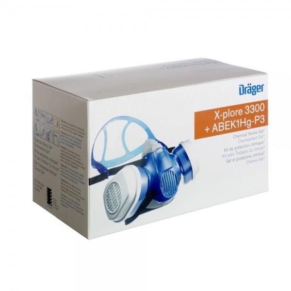 Dräger Halbmaske Set Chemiearbeiterset X-plore 3300 M + ABEK1 Hg P3 R D, R57794