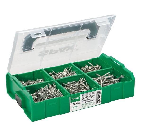 SPAX® Montagekasten, WIROX A3J, L-BOXX Mini, Kunststoff, klein, 6 Abmessungen, 703 Stück