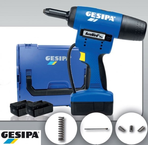Gesipa AccuBird® Pro mit 2 LI-ION AKKU 18 Volt, 2,1 Ah, Ladegerät + L-Boxx, 1644792