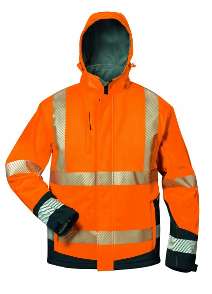 Elysee® Lukas Wattierte Warnschutz-Softshelljacke orange/schwarz, 23436