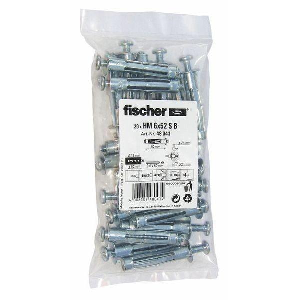 Fischer Hohlraum-Metalldübel HM 6x52 S B (20), 048043