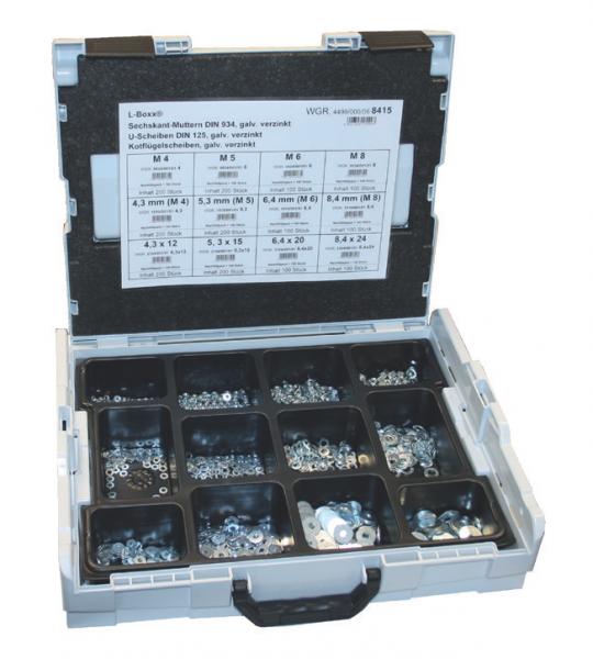 L-BOXX mit Sechskantmuttern DIN 934 U-Scheiben, DIN 125, Kotflügelscheiben, vezinkt